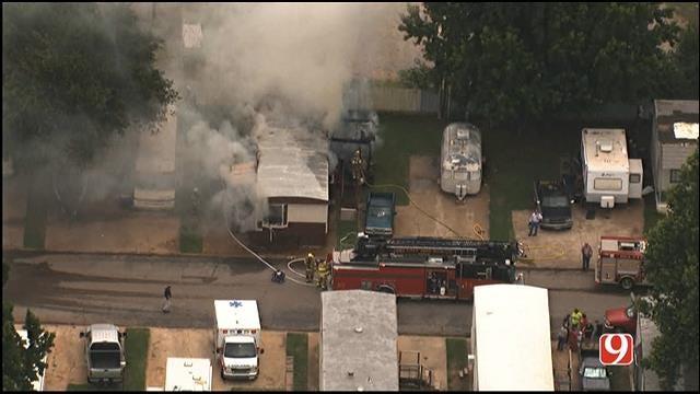WEB EXTRA: Bob Mills SkyNews 9 HD Flies Over Del City Mobile Home Fire