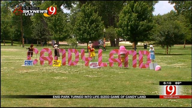 Enid Park Turned Into Life-Size Game Of Candyland