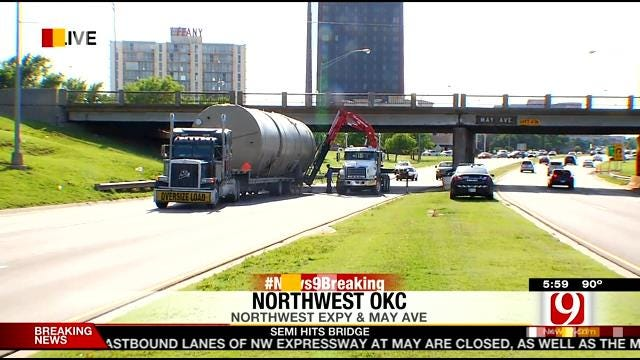 Eastbound Lanes Of NW Expressway Closed Due To Semi Accident