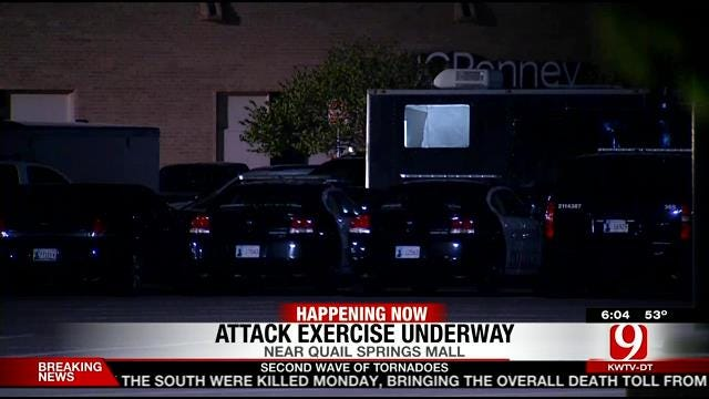 Law Enforcement Perform Attack Training Exercise At OKC Mall