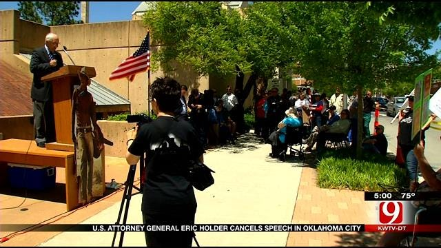 Protesters Claim Victory Over Holder Cancellation In OK
