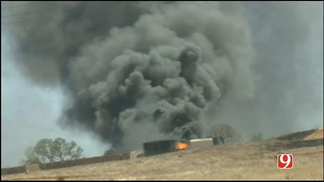 WEB EXTRA: Storm Tracker Marty Logan Covers Woodward Tank Battery Fire