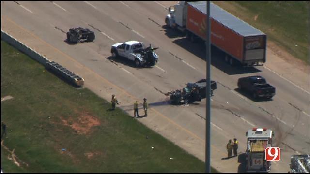 WEB EXTRA: Bob Mills SkyNews 9 HD Flies Over I-40 Accident