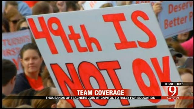 Thousands Of Teachers Join At Capitol To Rally For Education