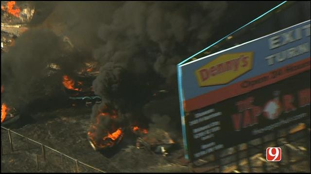 WEB EXTRA: Bob Mills SkyNews 9 HD Flies Over Grass Fires Near Shawnee