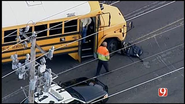 WEB EXTRA: Bob Mills SkyNews 9 HD Flies Over School Bus Accident