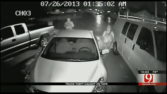Surveillance Footage Captures Thieves Stealing Truck In SW OKC