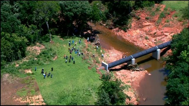 WEB EXTRA: SkyNews 9 Flies Over Creek Where Storm Victim's Body Found