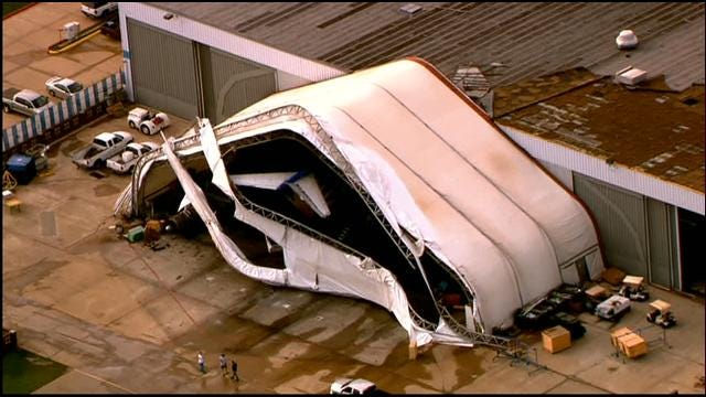 WEB EXTRA: SkyNews 9 Flies Over Storm Damage At Will Rogers Airport