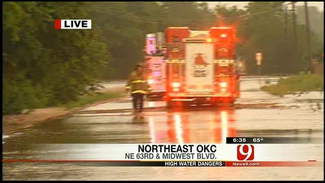 News 9 Reporter Rusty Surette Covers Water Rescue In NE OKC