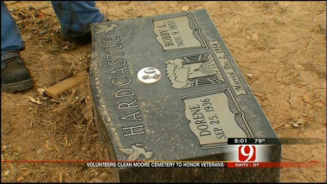 Volunteers Clean Up Moore Veterans' Cemetery Damaged By Tornado