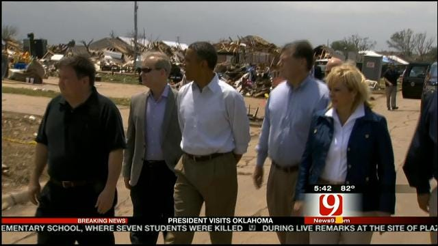 News 9's Alex Cameron Talks With Gov. Fallin About POTUS Visit