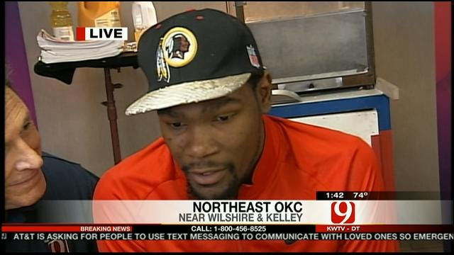 Kevin Durant Answers Phones At News 9/Red Cross Phone Bank