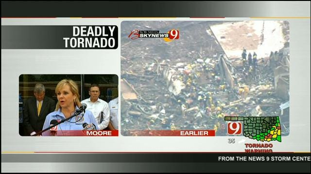 Gov. Fallin Speaks About Deadly Tornado At News Conference