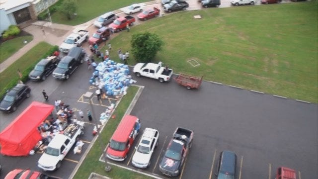 WEB EXTRA: Aerial View Of Oklahomans Donating To Moore Tornado Victims