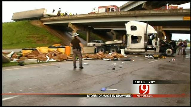 Karl Torp On The Scene Of Overturned Vehicles On I-40