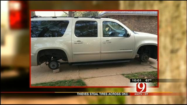 Police Seek Thieves Who Stole Tires, Rims Off OKC Vehicles