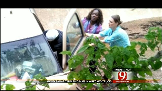 OKC Nursing Home Employees Rush To Help Man Crashed In Ditch