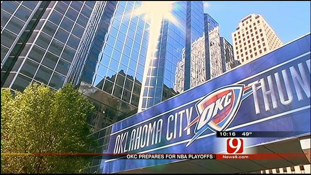 Downtown OKC Prepares To 'Thunder Up' For Playoffs