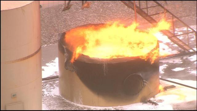 WEB EXTRA: SkyNews 9 Flies Over Tank Battery Fire Near Union City
