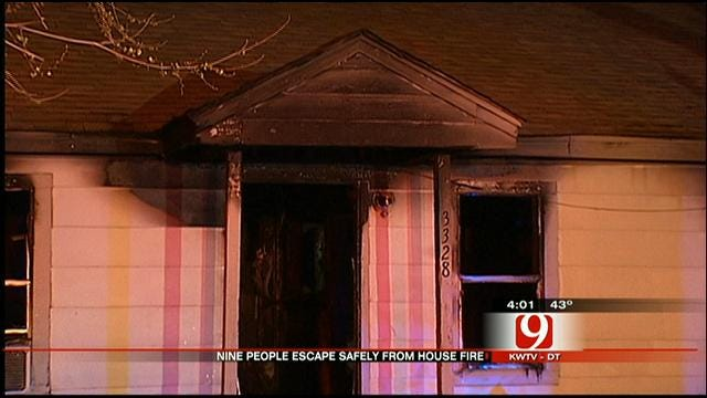 Nine People Including Infant Escape Burning SW OKC Home