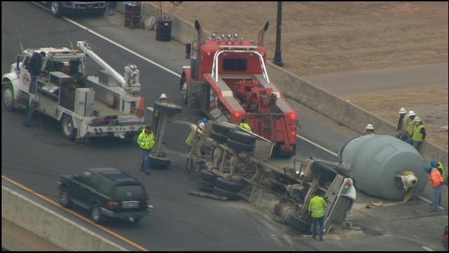SkyNews 9 Flies Over Cement Truck Rollover Crash