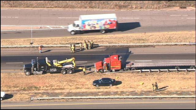 WEB EXTRA: Semi Accident Damages Bridge On SB I-35 Near I-44