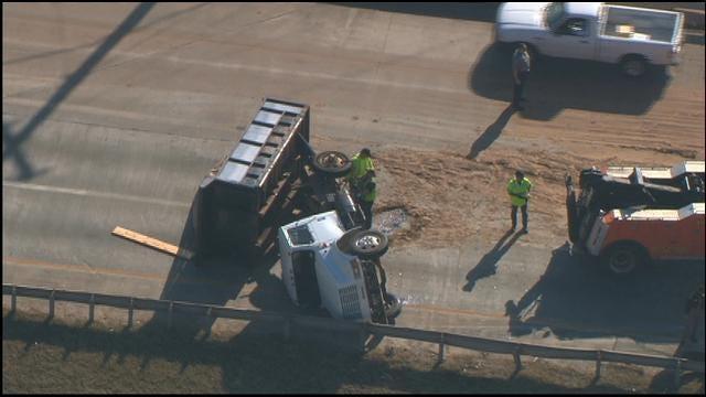 Dump Truck Overturns Along I-44 In SW OKC