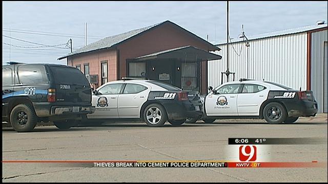 Burglars Take Guns, Drugs From Cement Police Department