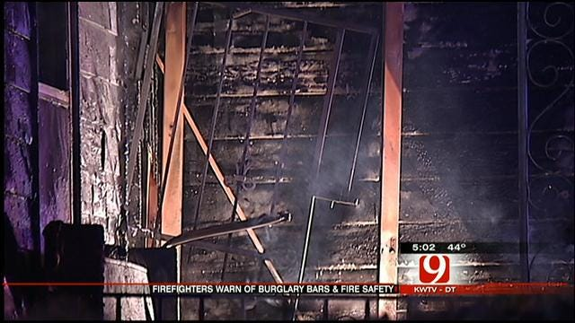 OKC Firefighters Warn About Burglar Bars During Fire