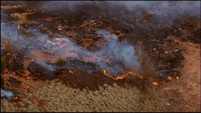 Crews Fighting Grass Fire Near Lake Stanley Draper