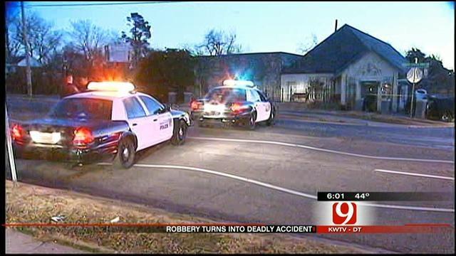 Suspected Robber Killed After Crashing Car Into NE OKC Building