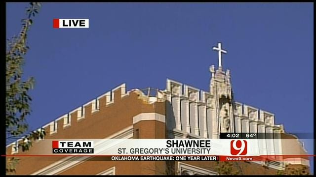Kelly Ogle Revisits Shawnee's St. Gregory's University, One Year After The Earthquake