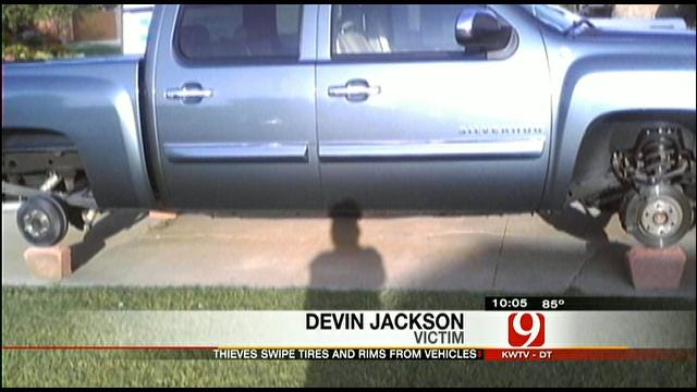 Thieves Steal Tires, Rims From Vehicles In Southwest OKC Neighborhood