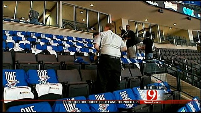 Thunder T-Shirts Blanket Chesapeake Arena For Playoff Game