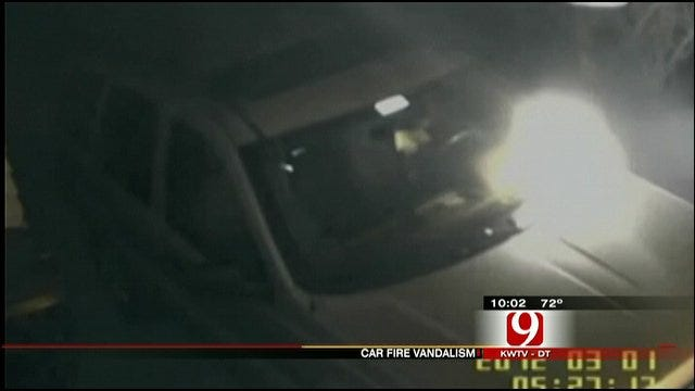 Surveillance Cameras Record Arsonist Torching Cars At Norman Home