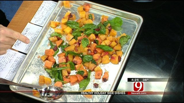 Roasted Butternut Squash With Sweet Potato, Cranberries And Spinach