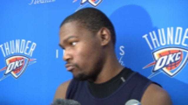 Thunder Forward Kevin Durant After Practice