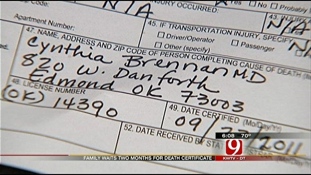 OKC Family Waits Two Months For Death Certificate