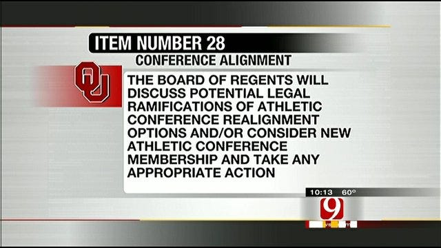 OU Regents To Discuss Conference Realignment Monday