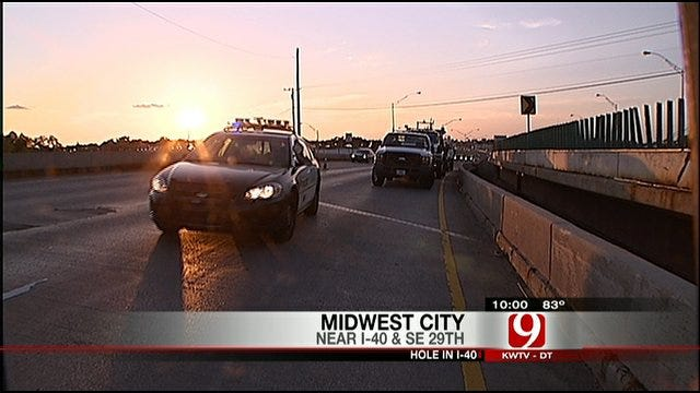 Hole In I-40 In Midwest City Slows Traffic