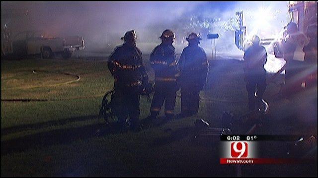 OKC Area Firefighters Battle High Winds And Blaze