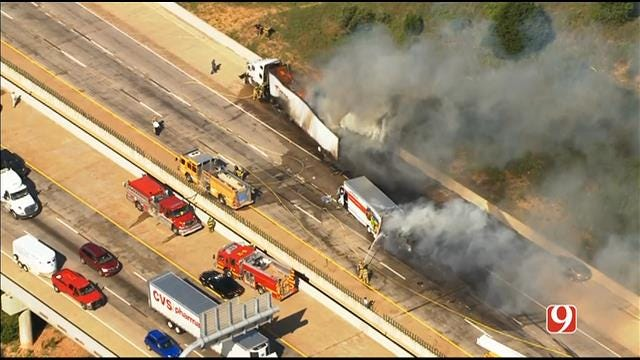 WEB EXTRA: SkyNews 9 Flies Over Multi-Vehicle Crash In Norman