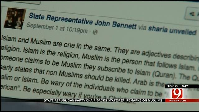 State Republican Party Chair Backs State Rep. Remarks On Muslims