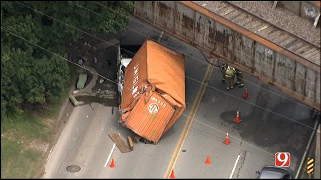 WEB EXTRA: Semi Loses Container, Crushes Truck