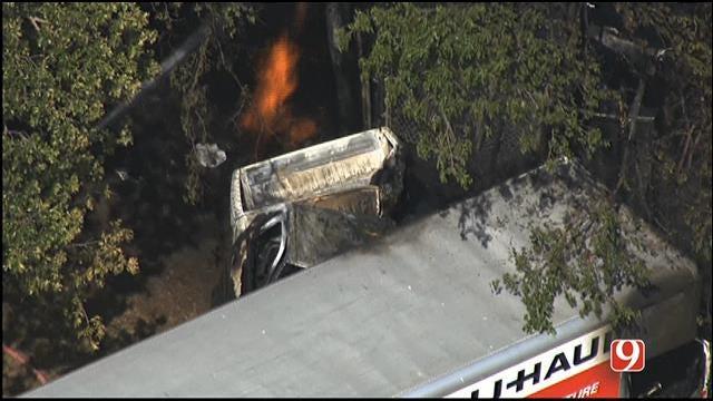 WEB EXTRA: Bob Mills SkyNews9 HD Flies Over Multiple Vehicle Crash In Bethany