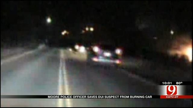 Moore Police Officer Saves DUI Suspect From Burning Car