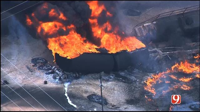 WEB EXTRA: Fire Crews Douse Blaze At Tanker Truck Wreck