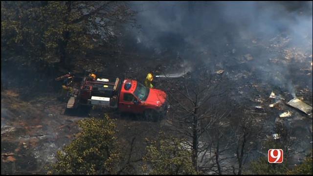 Bob Mills SkyNews9 HD Flies Over Grass Fire in Luther