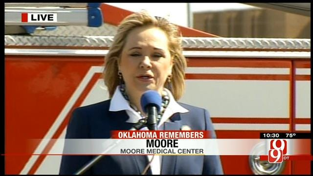 Gov. Mary Fallin Speaks During Moore Tornado Remembrance Ceremony
